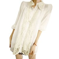 Amazon.com: Allegra K Women Lace Guipure See Through Long Sleeve Point Collar Chiffon Blouse Off White M: Clothing
