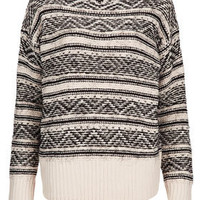 Knitted Fluffy Fairisle Jumper - Knitwear  - Clothing