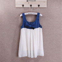 Cute Ribbon Denim Top Chiffon Bottom Tank Top