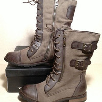 New Groove Force Canvas Lace Up Brown Combat Boots Women's (6-10)