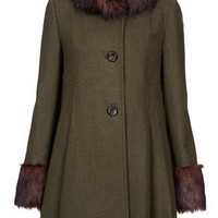 Fur Collar Pleat Skirted Coat