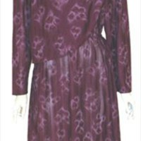 Plum Tulip Print Vintage 1970s Dress