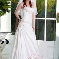 Fairytale Wedding Dresses A-line Strapless Applique Taffeta Floor Length Wedding Gown J1156