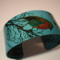Turquoise Bird Decoupage Cuff Bracelet by cuffscouture on Etsy
