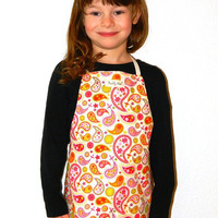 Paisley Print Child Apron Kid Aprons Girl Toddler Apron Reversible Gift