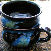 Chili Bowl Ceramic Mug Large Soup  Black Blue by darshanpottery