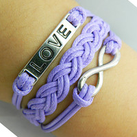Bracelet --- true love bracelet, antique silver LOVE bracelet, unlimited bracelet, purple woven bracelet
