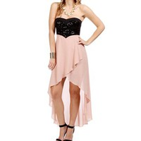 Rose/Black Sequin Strapless Hi Lo Dress