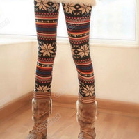 New Women&#x27;s Fashion Soft Knitted Warm Multi-patterns Tights Leggings Pants Girls