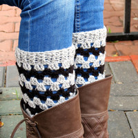 Grey Black Short Square Knit Boot Cuffs. Chevron Short Leg Warmers. Crochet Boot Cuffs.