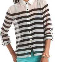 Striped Chiffon Hi-Low Blouse