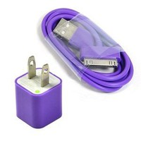 Cosmos Purple Wall Ac Charger USB Sync Data Cable for Iphone 4 4s 3g/s Ipod + Free Cosmos Cable Tie