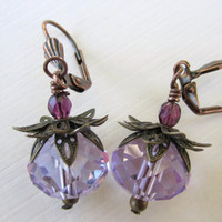 Glass Bead Earrings - Purple/Periwinkle by 636designs