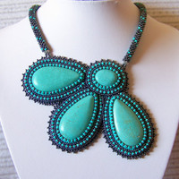 Turquoise Flower- Bead Embroidery Necklace with Turquoise - grey