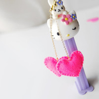 kawaii heart earrings -  Neon Pink felt heart earrings, cute earrings