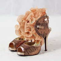 Tidings Ruffle Party Shoes, Sweet Glittering Party Shoes