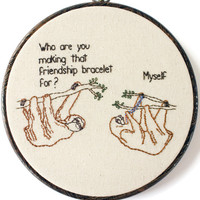 "Friendship Sloths - 8"" Hoop"