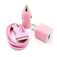 USB Data Charger + Car Charger + AC Wall Charger Adaptor for iPod Touch iPhone 4G 4S 3G 3GS - Pink
