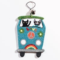 Volkswagen Love Bus Christmas Clay Cat Folk Art Ornament