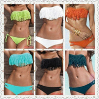Sexy Lady Girl Padded Boho Fringe Top Strapless Dolly 2pcs Set Bikini Swimwear