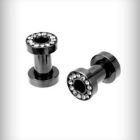 6 Gauge Hematite Cz Tunnel  Set