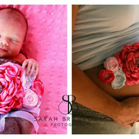 Maternity Sash. Pink Maternity Sash. Big Peony. Photo Prop. Maternity Belt.  Maternity Prop