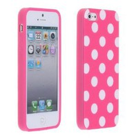 Amazon.com: Magenta Pink and White Polka Dot Gloss Flex Gel Case For the NEW Apple iPhone 5 (AT&T, Verizon, Sprint): Everything Else