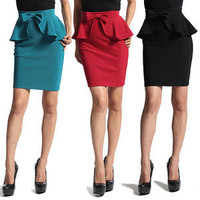 MOGAN Bow Accent PEPLUM SKIRT Womens High Waist Mini Pencil