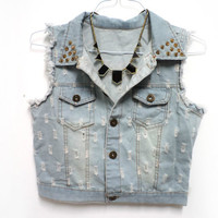 Ripped Denim Jeans Vest Jacket with Gold Studs New Free Shipping