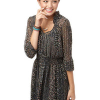 Long-Sleeve Smocked Chiffon Dress
