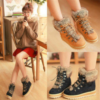 New Fashion Vintage Warm Snow Boots Lace Up Shoes Ankle Boot Women Ladies Winter