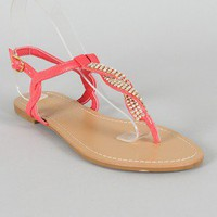 Bamboo Armin-01 Rhinestone Twisted T-Strap Thong Flat Sandal