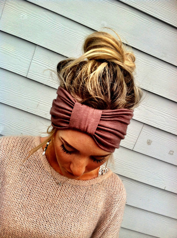 the Sparrow Headband Wide Stretchy Jersey Hair Band Ruched with Fabric Wrap in Mocha  Brown