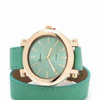wraparound-leather-watch BLACKGOLD MINTGOLD - GoJane.com
