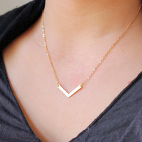 Dainty Matt Gold Chevron Necklace - Geometric Jewelry-24K Gold plated-Minimalist Necklace