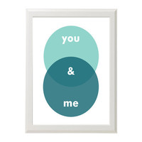 You & Me modern art print - Teal and mint or Customize with your choice of colors - Personalized art - gifts under 30