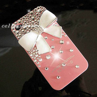 Christams gift iPhone 5 Cases studded swarovski crystals  iPhone Case white bow deco iPhone 4 Case Clean Crystals Sparkly iPhone 4S Case