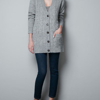 LONG CARDIGAN WITH ELBOW PATCHES - Knitwear - Woman - ZARA United States
