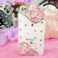 Elegant Bling Flower Crystal Pearl Case Cover Skin Hard For Apple Iphone 4 4G 4S