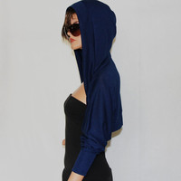 Denim blue Shrug hoodie/hoodies/sweatshirts/