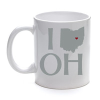 I Love Ohio State White Coffee Mug ceramic 11 oz  reusable cup