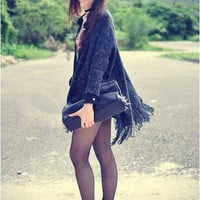 Tassel Oversized Batwing Sweater