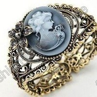Women Fashion New Elegent Vintage Flower Crystal Bronze Bracelet Free Shipping