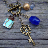 elegant key  antique brass charm necklace by MamasNestDesigns