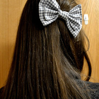 Grey and White Gingham Bow