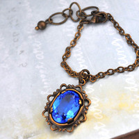 VICTORIAN, antiqued brass vintage Victorian style necklace for dollfies vintage sapphire glass jewel
