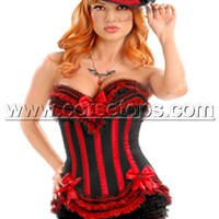 Sexy Steel Boned Corset Bustier Tops Lingerie Bow Red Black
