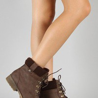 Wanda-12 Sweater Lace Up Ankle Bootie
