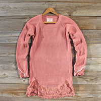 Skyline Lace Sweater in Pink, Sweet Bohemian Sweaters