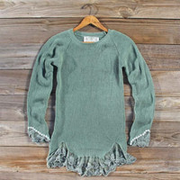 Skyline Lace Sweater in Sage, Sweet Bohemian Sweaters